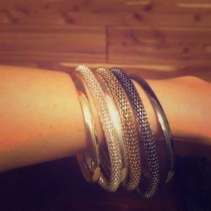 Pewter silver and gold bracelet set